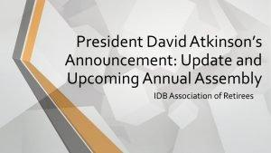 AJBID President's Announcement: Update and Upcoming Annual Assembly