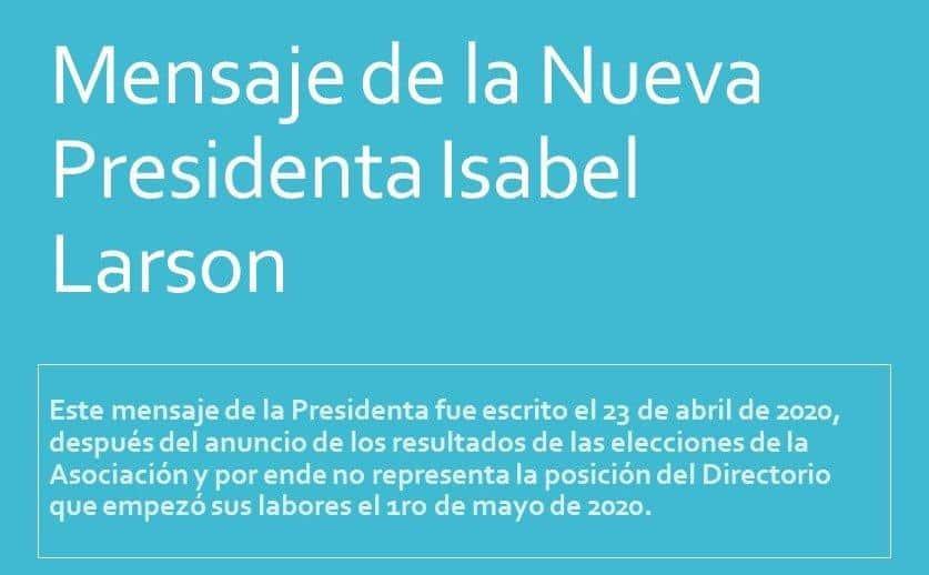 Mensaje de la Presidenta Isabel Larson