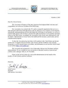 Welcome Letter to President Claver-Carone
